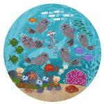 "Otter Garden 7 | 8"" x 8"" | Merry Kohn Buvia"