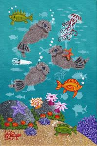 "Carmel Otters 21 | 6"" x 4"" | Merry Kohn Buvia"