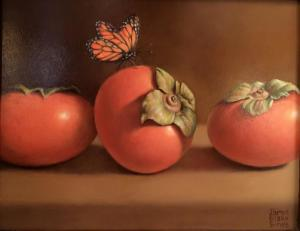 "Persimmons & Butterfly | 8"" x 10"" 