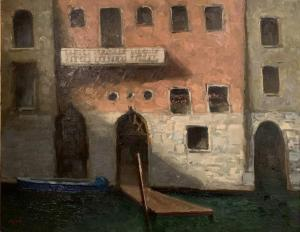 "Venetian Facade & Blue Boat | 24"" x 30"" | Ernie Baber"