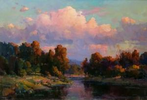 "Afternoon Light by the River | 30"" x 40"" 