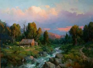 "Mountain Cabin by the Creek | 36"" x 48"" 