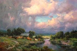 "Summer Day at the Pond | 48"" x 72"" 