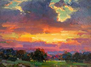 Ovanes Berberian | Sunset | 6x8 | Oil