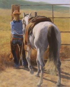 "Out Riding Fences | 20"" x16"" | Linda Petrie Bunch"