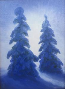 "Snowy Trees | 12"" x 9"" | Linda Petrie Bunch"