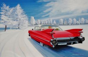 "Dashing Through the Snow Red 59 Cadillac | 17""x36"" | Ken Eberts"