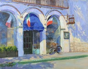 "Lunch at La Bicyclette Cafe | 11"" x 14"" 