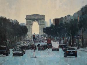 "Champs Elysees at Dusk | 30"" x 40"" 