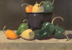 Peppers in Iron Pot | 12″ x 16″ | Gerald Julien Griffin
