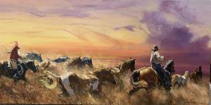 Sunset Roundup   24″ x 48″   Robert Hagan