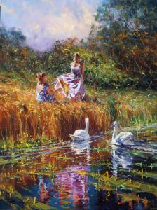 "Two Swans | 40"" x 30"" | Robert Hagan"