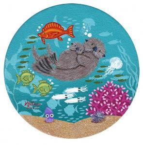 "Little-Round-Otters | 10"" x 5"" | Merry Kohn Buvia"
