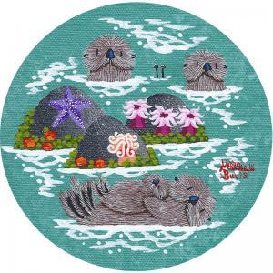 "Little Round Otters | 5"" x 5"" | Merry Kohn Buvia"