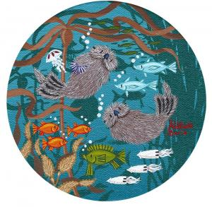 "Little Round Otters 6 | 5"" x 5"" 