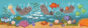 "Monterey Bay Otters 17 | 4"" x 12"" | Ovanes Berberian"