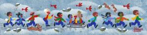 "Winter Kids | 3"" x 12"" | Merry Kohn Buvia"