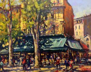 """Café Les Deux Garcons Aix en Provence   16"""" x 20""""   Pascal Maucourant"""