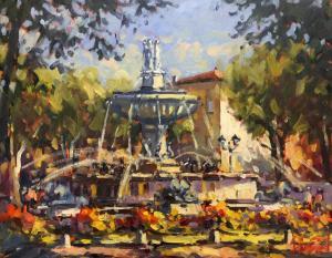 """Fontaine de Rotonde Aix en Provence   16"""" x 20""""   Pascal Maucourant"""