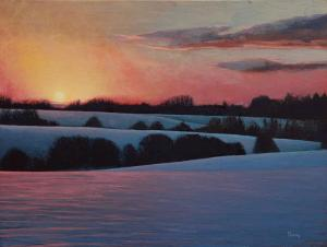 "Winter Sunset | 12"" x 16"" 