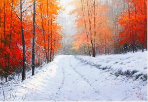"Snow in Autumn | 18"" x 26"" 
