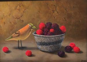 "African Bird & Basket of Berries | 9"" x 12"" 