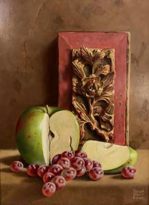 "Oriental Template Carving with Fruit | 9"" x 12"" 