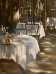 Thalia Stratton | Dining at the Pigonnet II | 24x18 | Oil
