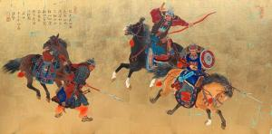 "As Wind as Fire the Warrior in Action | 20"" x 40"" 