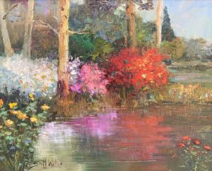 "Trees by the Pond | 16"" x 20"" 